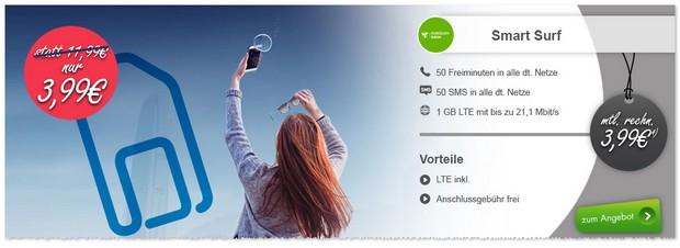 o2 Smart Surf mit 1 GB LTE bei Modeo für effektiv 3,99 €