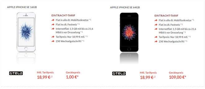 Der otelo Eintracht Tarif mit iPhone SE wurde auf 1 € Zuzahlung im Preis gesenkt