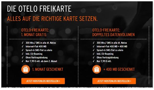 otelo Freikarte mit 400 MB Datenvolumen monatlich geschenkt