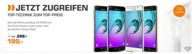Saturn Montagsangebot am 22.8.2016: Samsung Galaxy A3 (2016) für 199 €