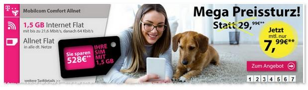 Telekom Comfort Allnet-Flat von mobilcom-debitel für 7,99 € / Monat