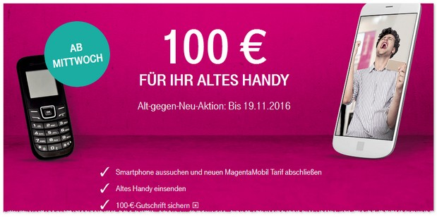 telekom werbung alt gegen neu 100 euro gustchrift. Black Bedroom Furniture Sets. Home Design Ideas