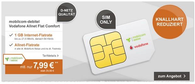 Vodafone Flat Allnet Comfort Tarif mit Allnet-Flat und Internet Flat für 7,99 € (SIM-only)