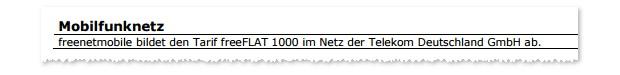 freenet Allnet Flat 1000 im D1-Netz der Telekom