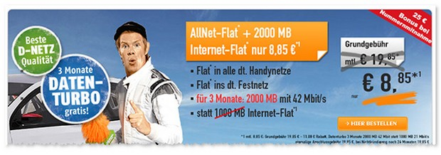 Klarmobil D1 Allnet-Flat für unter 10 Euro im Monat
