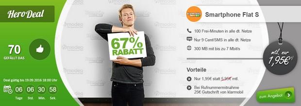 Klarmobil Smart Flat S bei Modeo für 1,95 € / Monat