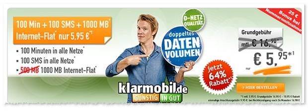 Klarmobil Smartphone Flat VF 1000 im September 2016