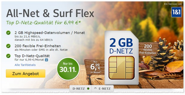 WEB.DE Allnet and Surf Flex im November 2016