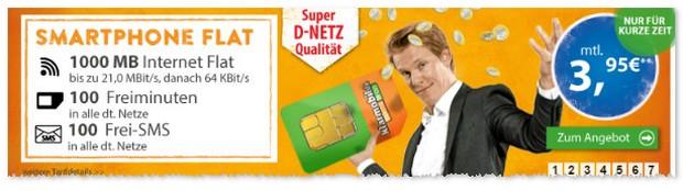 Klarmobil Smart Tarif mit 1 GB im D2-Netz im Angebot