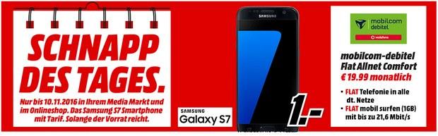 Media Markt Schnapp des Tages am 10.11.2016 mit Galaxy S7 Vertrag für 1 €