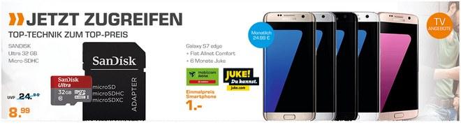 Saturn Handyvertrag aus der Werbung: Samsung Galaxy S7 edge für 1 €, Tarif mit 1GB Internet-Flat für 24,99 €