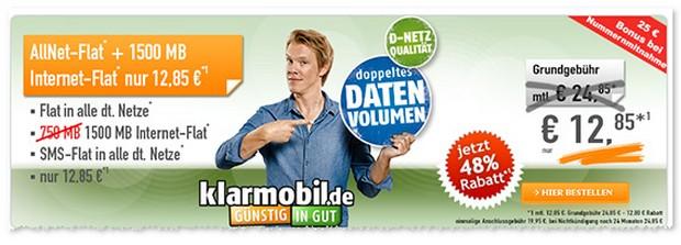 Klarmobil D2 Allnet Flat im Angebot mit SMS-Flat