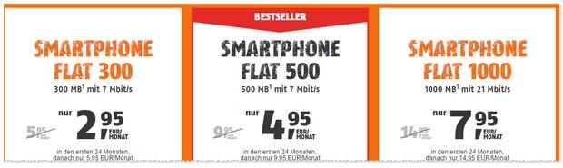 Klarmobil Smartphone Flats (D1-Netz der Telekom) mit bis zu 50 Prozent Rabatt