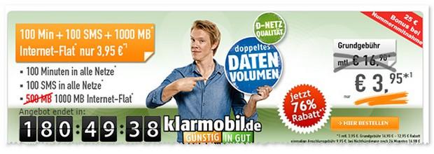 Klarmobil Smartphone-Flat VF mit 1 GB für 3,95 Euro