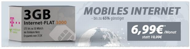 mobilcom Internet-Flat 3.000 im D1-Netz mit 3 GB LTE Datenvolumen in 2017