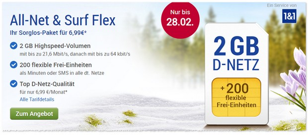 GMX All-Net & Surf Flex Tarif ab 6,99 € im Februar 2017