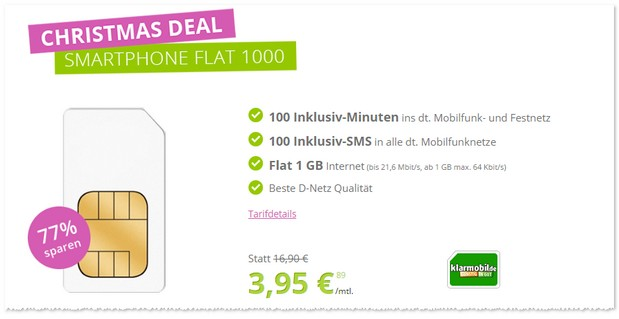 Klarmobil Smartphone Flat 1000 bei gethandy.de