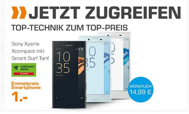 Saturn Handyvertrag aus der TV-Werbung: Sony Xperia X compact für 1 € mit 14,99 € Vertrag Smart Surf