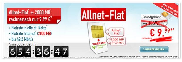 Vodafone comfort Allnet ohne Handy günstig im Februar 2017 unter 10 € im Monat
