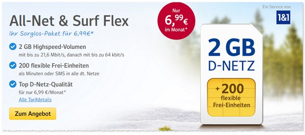 WEB.DE All-Net & Surf Flex 2GB im Februar 2017