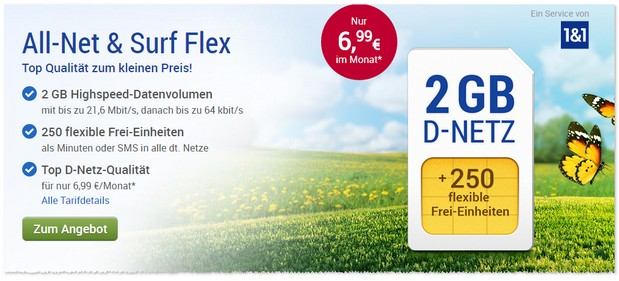 GMX-Handytarif für 6,99 € im März 2017