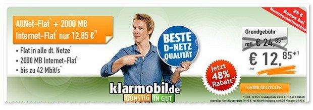 Klarmobil Allnet-Flat mit 2GB im Telekom-Netz