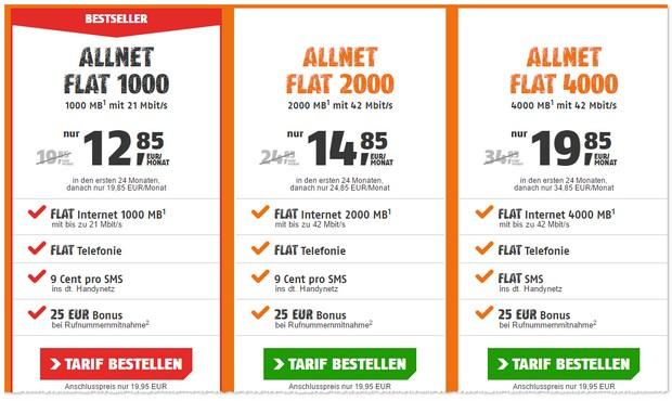 Klarmobil D1 Allnet-Flats mit 24 Monaten Laufzeit