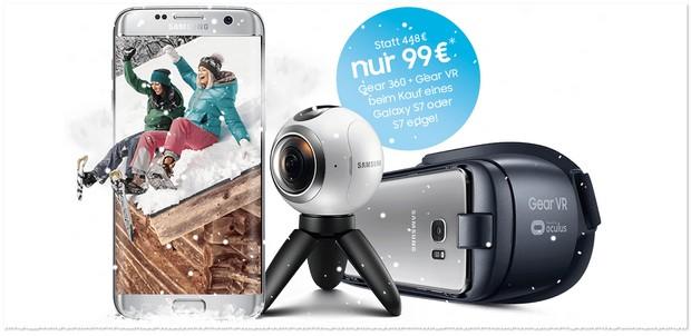 Samsung Rundumpaket-Aktion mit Samsung Gear 360 Grad Kamera + VR Brille für unter 100 Euro
