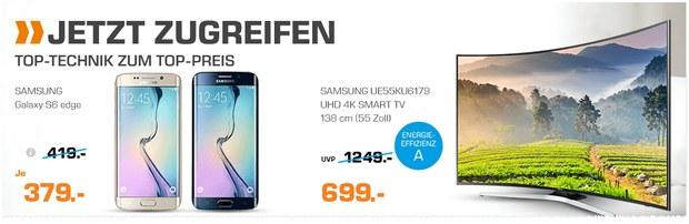 Neben den Saturn-Angeboten bis 13.3.2017 (9 Uhr) aus dem Prospekt gibt's noch bis Samstag (11.3.2017) das Samsung Galaxy S6 edge für 379 €
