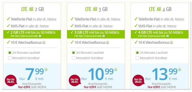 winSIM LTE Allnet-Flat besonders günstig - bis 28. Februar 2017