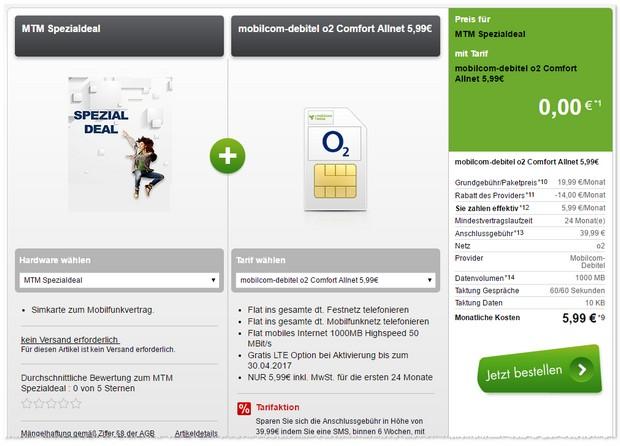 o2 Comfort Allnet Vertrag für 5,99 Euro im Monat mit 1 GB LTE Internet-Flat