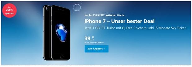 o2 WOW der Woche mit iPhone 7 / Plus bis 15. März 2017