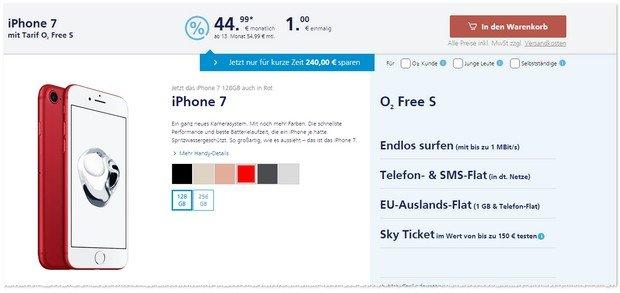 o2 WOW der Woche ab 1.4.2017 mit rotem iPhone für 1 Euro Zuzahlung
