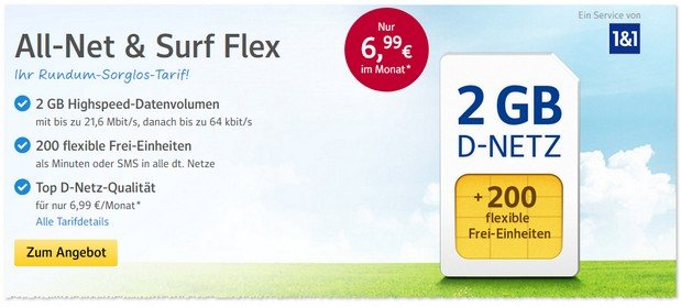 WEB.DE Handytarif Allnet & Surf Flex im April 2017