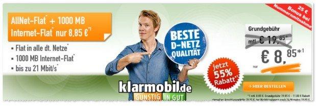 Klarmobil Allnet-Flat im D1-Netz der Telekom mit 1GB Internet Flat für unter 10 Euro